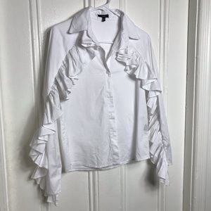 anthropologie drew ruffle button up white shirt